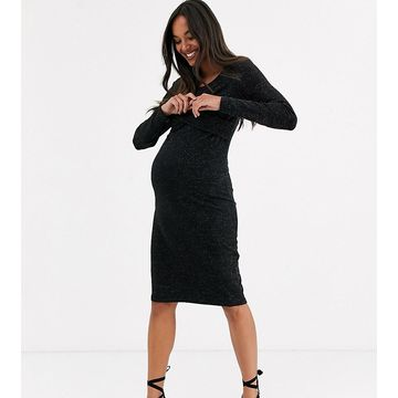 Mamalicious Maternity midi dress with wrap front in black shimmer-Multi