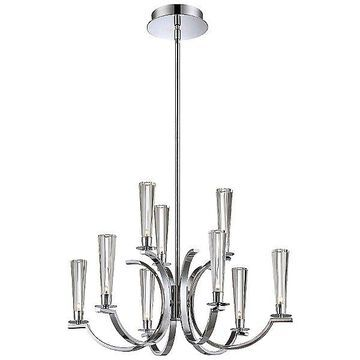 Eurofase Cromo 2-Tier Chandelier - Color: Clear - Size: 12 light - 25635-010