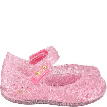 Melissa Pink Ballerina Flats For Girl With Pearls