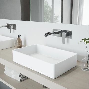 VIGO Vessel sink Matte White Matte Stone Vessel Rectangular Bathroom Sink with Faucet (Drain Included) (21.25-in x 13.875-in) | VGT963
