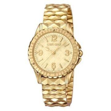 Roberto Cavalli By Franck Muller Women's Swiss Quartz Gold Stainless Steel Bracelet Gold Dial Watch, 34mm
