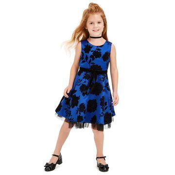 Little Girls Flocked Floral Dress