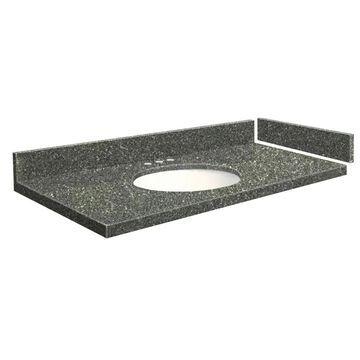 Transolid 55-in Greystone Quartz Single Sink Bathroom Vanity Top in Gray | VT55.5X22-1OU-4T-8