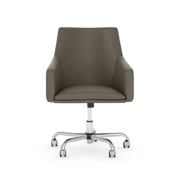 Bush Furniture Somerset Washed Gray Leather Transitional Adjustable Height Swivel Desk Chair