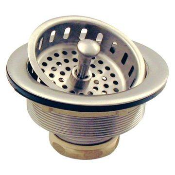 Post Style Large Kitchen Basket Strainer, Satin Nickel