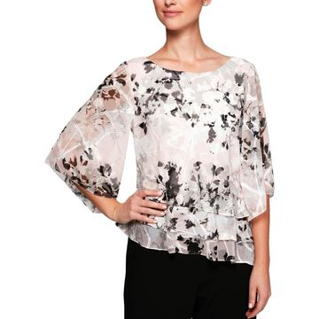 Alex Evenings Womens Petites Printed Tiered Blouse