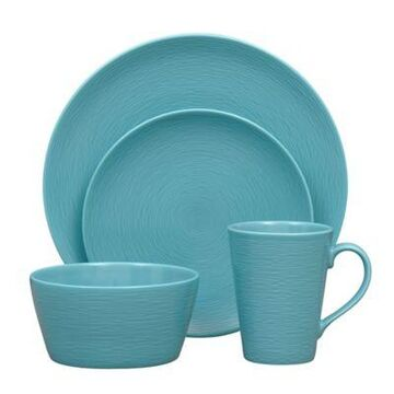 Noritake Turquoise on Turquoise Swirl 4-Piece Coupe Place Setting