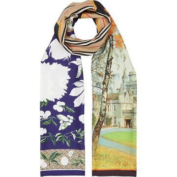 Burberry Montage Print Silk Scarf in Archive Beige