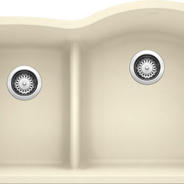 BLANCO Diamond Undermount 32-in x 20.875-in Biscuit (Off-white) Double Offset Bowl Kitchen Sink   441606