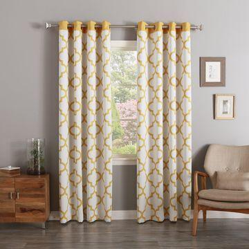 Aurora Home Moroccan Tile Print Room Darkening Grommet Curtain Pair