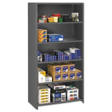 Tennsco Closed Commercial Steel Shelving, Six-Shelf, 36w x 24d x 75h, Medium Gray