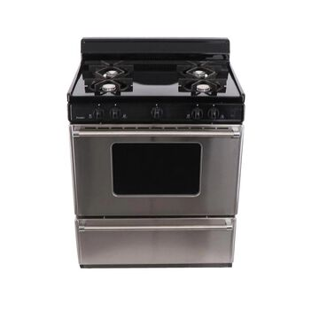 Premier 30-in 4 Burners 3.9-cu ft Freestanding Gas Range (Stainless Front with Black Sides and Top) | SFK600BP