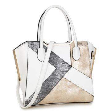 Dasein Semi Metallic Patch Design Satchel Handbag