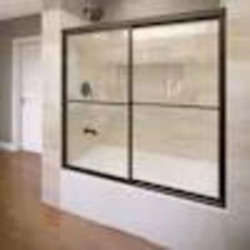 Basco Deluxe 56-in to 59-in W Framed Bypass/Sliding Oil-Rubbed Bronze Bathtub Door
