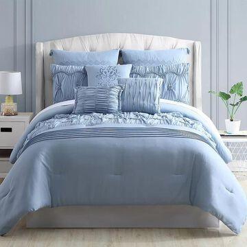 Pacific Coast 8-Piece Embellished Comforter Set - Clara, Blue, King