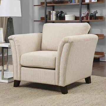 Benzara BM123367 Campbell Contemporary Chair, Ivory