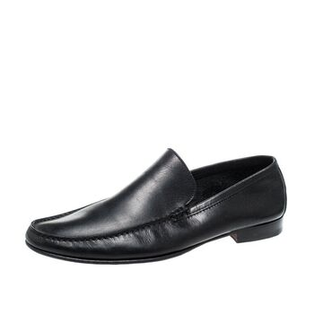 Ermenegildo Zegna Black Leather Loafers Size 43