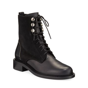 Ali Studded Mixed Leather Combat Booties