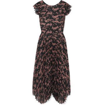 Markus Lupfer - Sadie Pleated Floral-print Crepe De Chine And Chiffon Midi Dress - Black