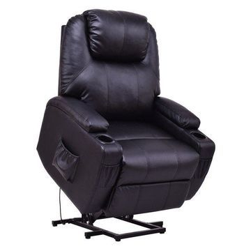 Costway Electric Power Lift Chair Recliner PU Leather Padded Seat w/ Remote