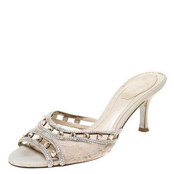 Rene Caovilla Beige Lace Crystal Embellished Peep Toe Slides Size 37