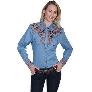 Scully Legends Women's Poly/Rayon Blend Snap Front Blouse, PL-654-BLU-L