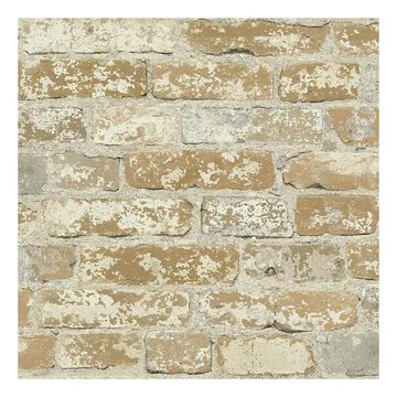 Roommates Faux Brick Peel & Stick Wallpaper Wall Decal, Brown