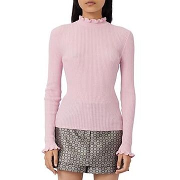 Maje Maullya Ruffled Ribbed Sweater