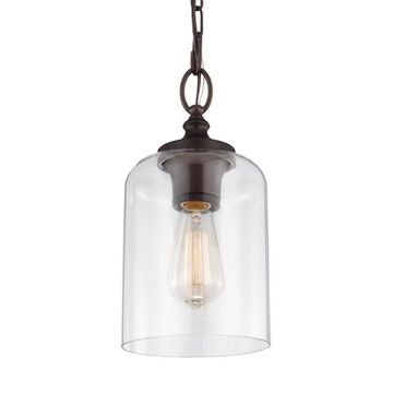 Feiss Hounslow Oil Rubbed Bronze Modern/Contemporary Clear Glass Globe Mini Pendant Light
