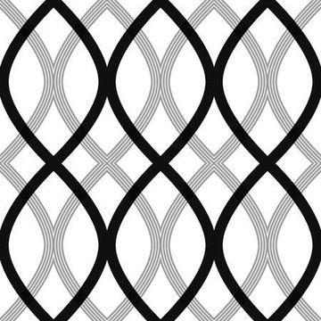Beacon House Contour Black Geometric Lattice Wallpaper