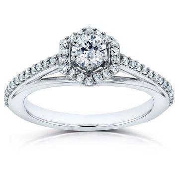 Annello by Kobelli 10k White Gold 1/2ct TDW Diamond Hexagon Halo Engagement Ring