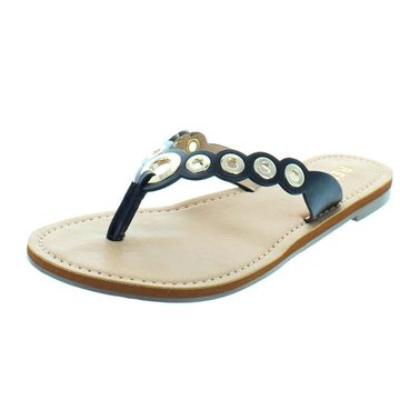 Report Womens Slone Faux Leather Grommet Thong Sandals