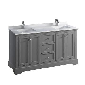 Fresca Cambria 60-in Gray Textured Double Sink Bathroom Vanity with White Quartz Top
