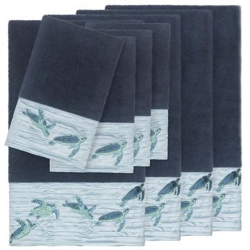 Authentic Hotel and Spa Turkish CottonTurtles Embroidered Midnight Blue 8-piece Towel Set