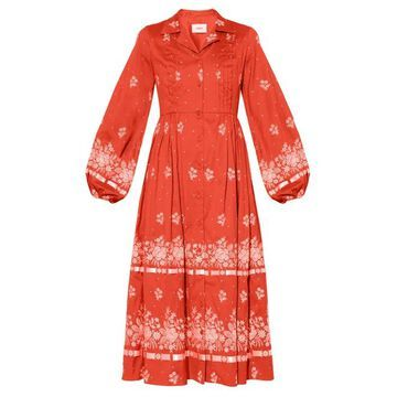 Erdem - Broderick Floral-embroidered Cotton-blend Dress - Womens - Red White