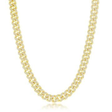La Preciosa 925 Sterling Silver/Gold Plated Cubic Zirconia 6.5mm Miami Cuban 8.5'', 20'', 22, 24 Chain Necklace