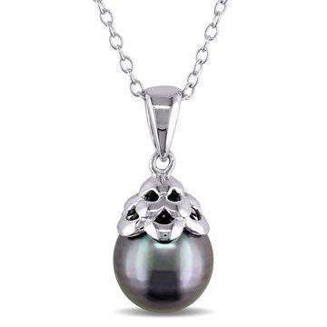 Miadora Sterling Silver Tahitian Black Pearl Necklace (9-10 mm)