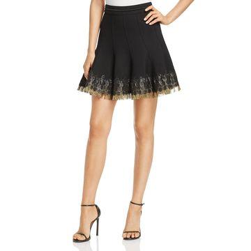 Elie Tahari Womens Christina Metallic Fringe Flare Skirt