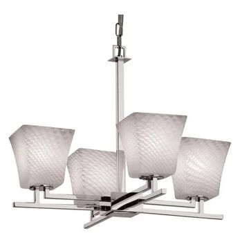 Justice Design Group FSN-8700-40-WEVE Fusion 4 Light 1 Tier Chandelier