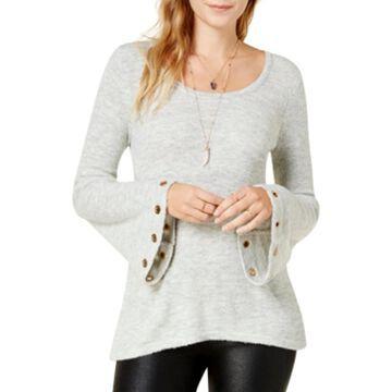 Kensie Womens Grommet Bell Sleeve Pullover Sweater