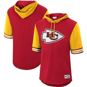 Men's Mitchell & Ness Red Kansas City Chiefs Buzzer Beater Mesh Short Sleeve Pullover Hoodie
