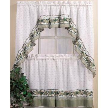 "Chf Cottage Ivy 24"" Window Tier & Swag Valance Set"