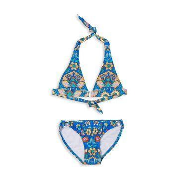 Shoshanna Little Girl's and Girl's 2-Piece Shoreline Boarder Ring Halter Bikini Set