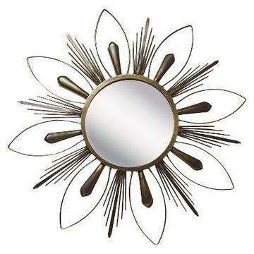 Sunburst Metal Raindrop Decorative Wall Mirror Gold - PTM Images
