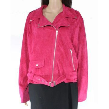 Glamorous Womens Jacket Belted Faux-Suede Motorcycle