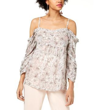 William Rast Womens Ada Floral Print Off-The-Shoulder Blouse