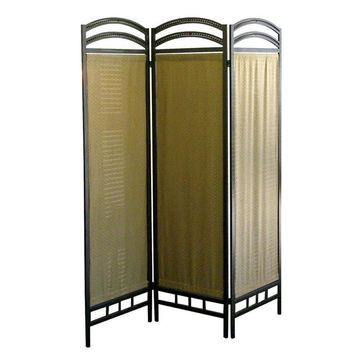 ORE International 3-Panel Pewter Cellulose Fiber Folding Contemporary/Modern Style Room Divider in Brown
