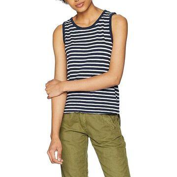 Three Dots Women's Top White Small Tank Cami Striped Knit