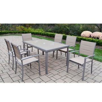 Oakland Living Padded Sling 7-Piece Outdoor Dining Set in Champagne