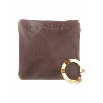 Leather Graphic Print Pouch Brown